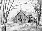 'Decorah Barn' drawing by Diane Wright