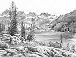 'Lake Ediza' - graphite pencil drawing by Diane Wright