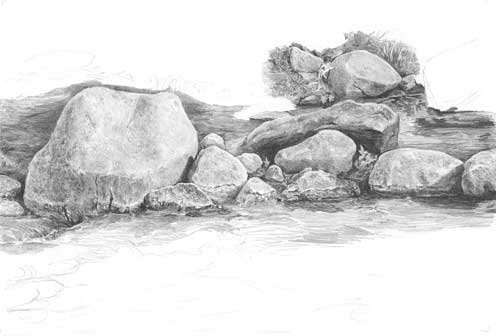 Drawing Rocks tutorial - completed drawing